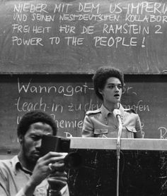 Kathleen Cleaver, of the Black Panther Party, speaks at the University of Frankfurt, 1971 Books for Progressive readers & Revolutionary Minds Fahrenheit 451 Bookstores on Amazon at fah451books.com or E-Bay at fah451bks.com