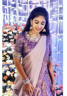 Half Saree Lehenga, Lehenga Saree Design, Lehenga Designs, Half Saree Designs, Blouse Designs Silk, Bridal Blouse Designs, Stylish Dresses For Girls, Stylish Dress Designs, Saree Wearing Styles