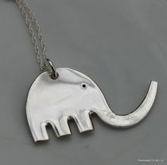 ELEPHANT Pendant SILVERWARE Jewelry 18 inch Sterling Silver Chain We Can Stamp Your Initials
