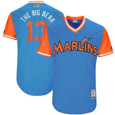 """Marcell Ozuna """"The Big Bear"""" Miami Marlins Majestic 2017 Players Weekend Authentic Jersey - Blue - $199.99"""