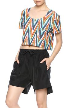 Cropped t-shirt in multicolor chevron print.   Woven Crop Tee by Mary Meyer. Clothing - Tops - Short Sleeve Clothing - Tops - Crop Tops Manhattan, New York City