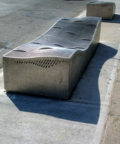 Water-permeable flood mitigation bench in Queens by Roger Marvel Architects. Click image for source and visit the Slow Ottawa 'Streets for Everyone' board for more people- and planet-friendly designs.