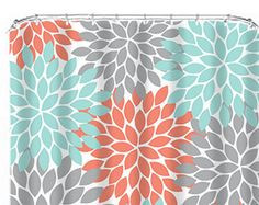 Coral Aqua Turquoise Shower Curtain Flowers Monogram CUSTOM You Choose Colors Gray Flower Burst Dahlia Bathroom