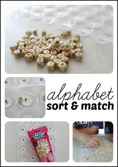 This Alphabet Sort and Match activity is so simple. It is great for reinforcing capital and lowercase letter recognition and even great for fine mo Preschool Literacy, Preschool Letters, Alphabet Activities, Early Literacy, Literacy Activities, Activities For Kids, Kindergarten, Alphabet Writing, Teaching The Alphabet