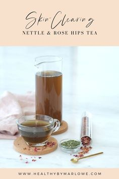 This medicinal Nettle & Rose Hips tea helps to clear acne and other inflammatory skin conditions when drank regularly. Rosehip Tea, Clear Skin, Healthy Drinks, Smoothies, Delish, Tea Pots, Alcoholic Drinks, Drink Recipes, Tableware