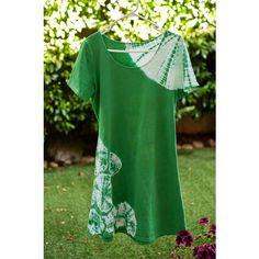 Shibori EMERALD GREEN A-Line Summer Dress, circles LARGE ($50) ❤ liked on Polyvore featuring dresses, summer dress, a line cocktail dress, summer dresses, emerald green dress, summer day dresses and short sleeve summer dresses