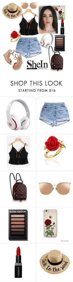 """Summer at the door^ with Shein.com"" by amiraahmetovic ❤ liked on Polyvore featuring Beats by Dr. Dre, Levi's, Disney Couture, Linda Farrow, Smashbox and Schutz"