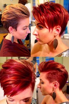 Before and after blonde to copper kopper red head with orange and purple violet highlights A symmetrical cut disconnected pixie Red Blonde Hair, Short Red Hair, Girl Short Hair, Short Hair Cuts, Curly Short, Cool Short Hairstyles, 2015 Hairstyles, Pixie Hairstyles, Red Orange Hair