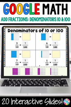 """""""LOVE THE VARIETY OF SLIDES!"""" With this Grade Adding Fractions with Denominators or 10 and 100 digital resource your students will practice finding equivalent fractions with denominators of 10 and 100 and adding fractions with denominators of 10 and Adding Fractions, Teaching Fractions, Math Fractions, Equivalent Fractions, Math Math, Multiplication Strategies, 8th Grade Math Games, 8th Grade Math Worksheets, Math Classroom"""