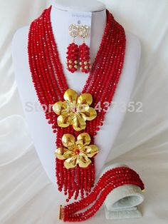 Charming Red Crystal Beads Nigerian Wedding African Crystal Beads Jewelry Set Free Shipping CPS3857 $58.38
