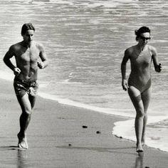Anjelica Huston et Ryan O Neal Malibu 1978