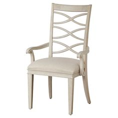 Perfect pulled up to your dining table or writing desk, this classic side chair showcases an open slat back and upholstered seat.