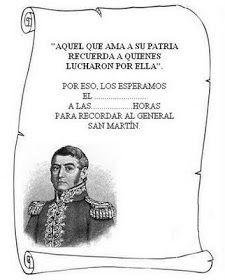 Original tarjeta con forma de pergamnimo para la invitacion al acto en conmemoración al acto sobre el General José de San Martín.     Para...
