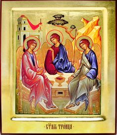 The Holy Trinity (Old Testament Trinity), Orthodox Serigraph Icon, Hand Painted, Large Day Of Pentecost, Paint Icon, Orthodox Christianity, Old Testament, All Icon, Orthodox Icons, Spiritual Life, Holy Spirit, Ikon