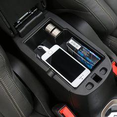 For Jeep Renegade 2015 up Car Center Console Armrest Storage Box ABS Black Armrest Storage Box Glove Box Tray Storage Box