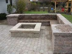 outdoor pergola lounge and travertine patio with fire pit - Google Search