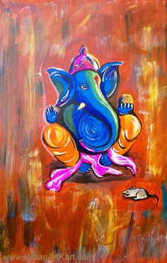 This is a art of lord ganesh -god of luck    www.IndianArtKart.com