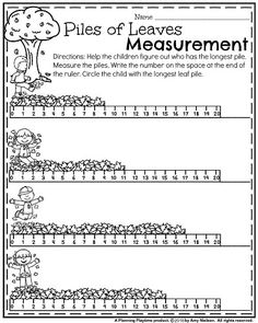 Grade Math and Literacy Worksheets with a Freebie! First Grade Fall Worksheets - Piles of Leaves Measurement.First Grade Fall Worksheets - Piles of Leaves Measurement. First Grade Measurement, Measurement Kindergarten, Measurement Worksheets, 1st Grade Math, Grade 1, Math Class, Kindergarten Math, Free Printable Math Worksheets, Literacy Worksheets