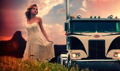 A Pete cabover and a lady.... sultry.
