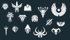 Gw2 Emblems 2 by NickWiley Band Logo Design, Game Ui Design, Symbol Design, Icon Design, Ux Design, Graphic Design, Cool Symbols, Warriors Game, Female Warriors