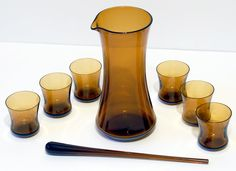Amber Glass Cocktail Set by Borgstrom.