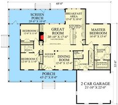 Country Cottage with Wraparound and Bonus Room - floor plan - Main Level - House Plans, Home Plan Designs, Floor Plans and Blueprints Cottage Floor Plans, Barn House Plans, Country House Plans, New House Plans, House Floor Plans, The Plan, How To Plan, Raised Ranch Remodel, House Plans One Story
