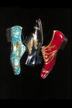 Men's Art Deco Shoes - c. 1925 - Manufacturer: Coxton Shoe Co. Ltd. - Marbled suede with gilt leather decoration - Victoria and Albert Museum Collection, London