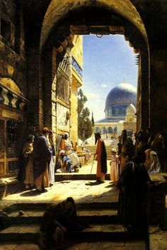 At The Entrance To The Temple Mount Jerusalem Paint By Gustav Bauernfeind Repro