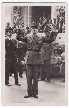 France Liberation de Paris General de Gaulle Vintage Real Photo Postcard RPPC