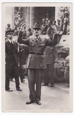 France Liberation de Paris General de Gaulle Vintage Real Photo Postcard RPPC