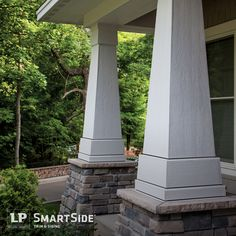 LP SmartSide trim columns add an interesting aesthetic feature to the front of this home, while LP SmartSide vented soffit panels help promote air flow and keep out bees and many other insects.