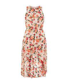 Teens White Chiffon Rose Print Dip Hem Dress | New Look
