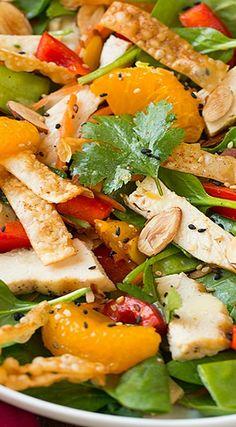 Mandarine Orange Spinach Salad with Chicken and Lemon Honey Ginger Dressing