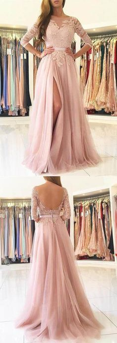 half sleeve pink tulle slit evening dress a-line long prom dress,HS126  #fashion#shopping#promdress#eveningdress#promgowns#cocktaildress