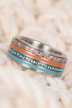 #silver #ring #combination #aztec #line #coral #turquoise #zirconia #stainless #steel #ixxxi #ixxxijewelry #fan #boho #bohemian Boho Festival, Cuff Bracelets, Silver Rings, Wedding Rings, Engagement Rings, Coral Turquoise, Aztec, Bohemian, Stainless Steel