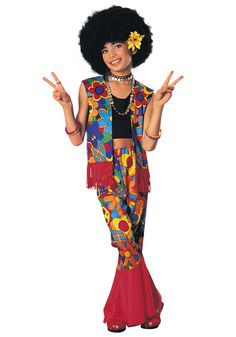 Start a new peace movement this Halloween season in this fun Flower Power Hippie Girls Costume.