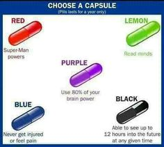 I don't need Superman powers, I like pain/I'm not really sensitive to it, I don't wanna mess up my entire life by the black pill, and the purple one is useless. I like the lemon one. Writing Tips, Writing Prompts, Ap Psychology, Choose Wisely, Would You Rather, Pick One, Book Nerd, Super Powers, Pills