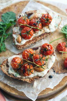 Roasted Tomato & Garlic Crostini with Herbed White Bean Puree