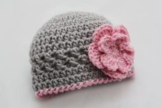 Newborn Photography Prop - Girls Crochet Hat with Flower - Chloe Hat. $18.00, via Etsy.