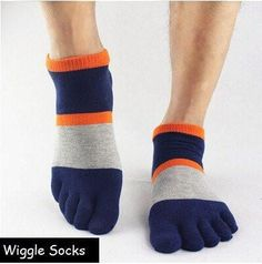Wiggle Socks: Unisex Toe Socks, Toe Separator Socks, Five Finger Socks, 5 Toe Socks, 5 Finger Socks, Toe Shoe Socks: Blue Light Grey Orange Stripes