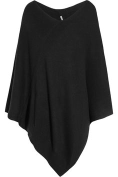 Black mid-weight cashmere Asymmetric ribbed panel across front and back, V-shaped hem Slips on cashmere Hand wash Cashmere Poncho, Cashmere Sweaters, Gucci Boots, Signature Look, Donna Karan, What I Wore, Style Me, Cute Outfits, Fashion Outfits