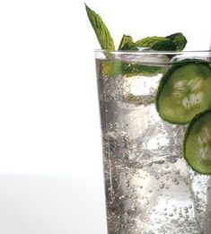 cucumber soda w basil and mint