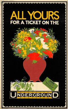 All Yours for a Ticket; by P Cottingham, 1916 Today the London Underground network serves 270 stations and runs throughout greater London. (The Central Line, for example, is 46 miles (74km) in length; the Piccadilly Line is 44.3 miles (71km) in length.) You can see more examples of London Underground posters covering all aspects of life in the capital here. Picture: London Transport Museum