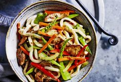 Serving two, this recipe is a great one for a date night. Using red capsicum & snow peas creates crunch in this chicken stir-fry with fresh lime & ginger.