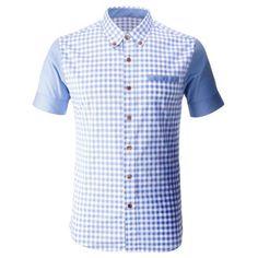 FLATSEVEN Mens Gingham Check Plaid Slim Fit Shirt Cool Shirts For Men, Men Shirts, Shirt Men, Mens Designer Shirts, Half Shirts, African Men Fashion, Look Chic, Gingham Check, Casual Button Down Shirts
