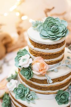 Naked wedding cakes are taken up a notch with succulent toppers.