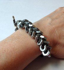 Get in on the hardware store #jewelry trend with this #DIY Hex Nut Bracelet tutorial.