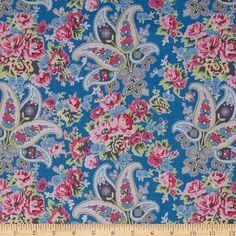 Free Spirit Tea Cakes Floral Paisley Cornflower Blue