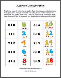 FREE Addition Concentration Game with Doubles (0-9)