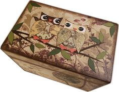 Recipe Box Decoupaged Owl Box Handcrafted by IHaveBeenFramed, $32.00